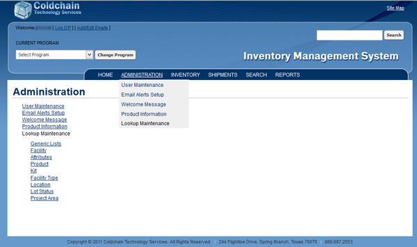inventory management system - ims users control